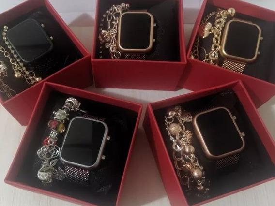 Kit Com 5 Relógios Digital Feminino+caixas+pulseiras Atacado