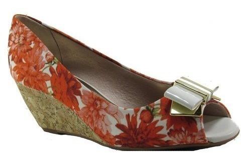 Sapato Feminino Beira Rio Conforto Floral Laranja 4775116 Mega Promoção Últimas Unidades