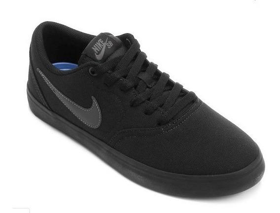 Tênis Nike Sb Check Solar Cnvs Black 11596 Original