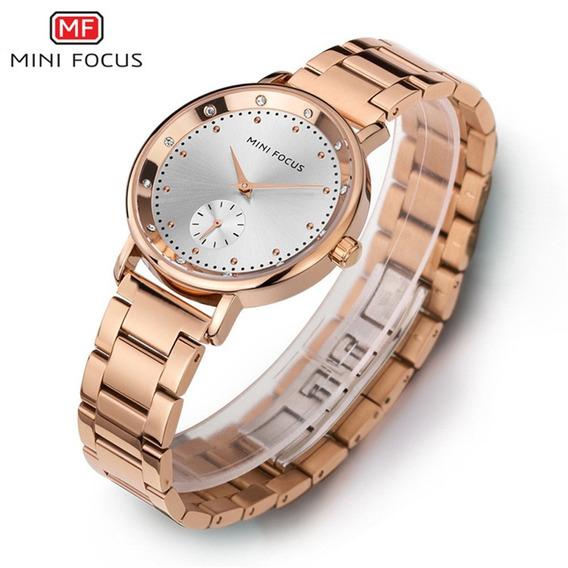 Relógio Quartzo Mini Focus Mf0037l Prata Fuso Tempo Dual