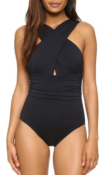Traje De Baño Negro Completo Monokini Para Mujer Tallas