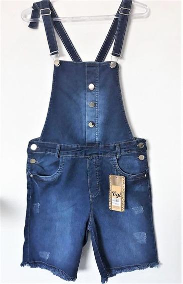 Macacão Feminino Jeans Jardineira Plus Size Tamanhos Grandes
