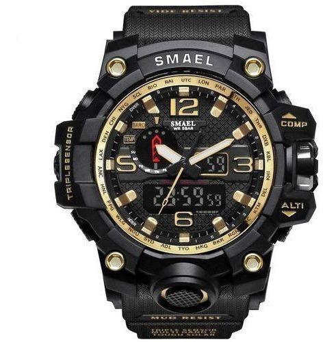Relogio Masculino Militar Smael Schok Dual Time Caixa 55mm Led,calendario Bisel Amarelo Envio Imediato Prova D Agua