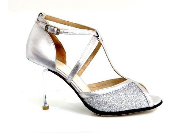 Zapatos De Baile,tango,fiesta,salsa Lame Y Charol Taco 8 O 6
