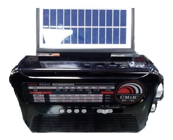 Radio Caixa De Som Com Placa Solar Bluetooth Portatil Fm Usb