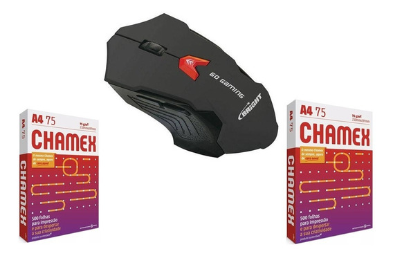 Mouse Gamer Bright 2400 Dpi + 1000 Folhas Chamex 2 Resmas