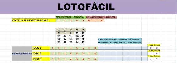 Planilha Lotofacil - 3 Bilhetes De 16 Números