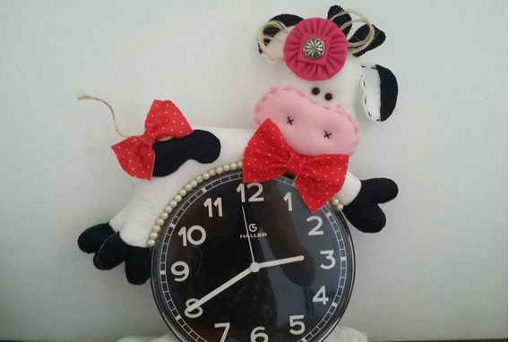 Relógio De Parede Cozinha Em Feltro Vaquinha, Girafa
