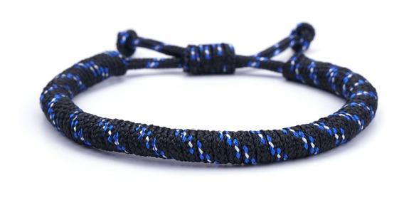 Pulsera Nylon Ajustable Negro Con Azul Vstone Envio Gratis