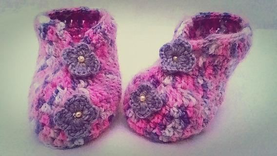 Sapatinho De Bebê Em Crochê - Mesclado Flores