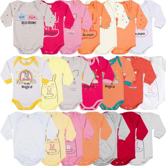 Kit Body De Bebê Com 5 Bodies Manga Longa Sortidos Variados