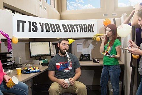 Imagen 1 de 4 de Es Tu Cumpleaños. Banner 15x72 La Oficina Vinilo Decoracio.