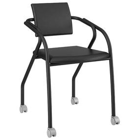 Cadeira Para Escritório 1713 Carraro Com Rodízios - Preto