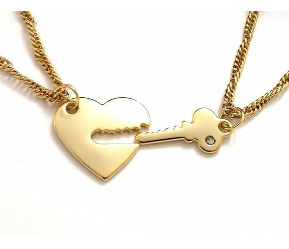 Conjunto Namorados Namoradas Chave Coração Folheado Ouro 18k