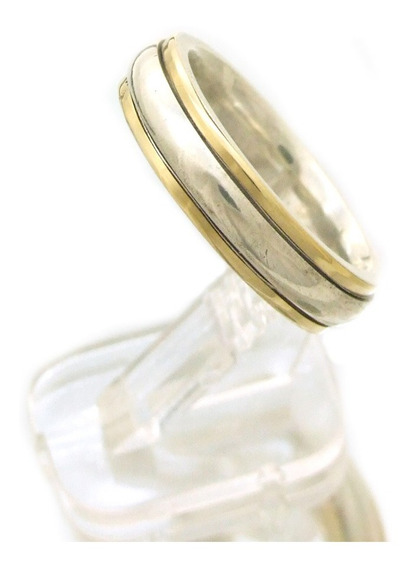 Aliança Em Prata 950 Com Detalhes Em Ouro Aro 16