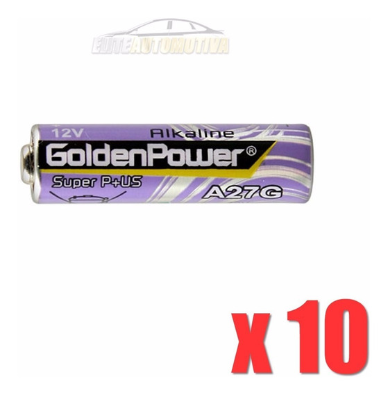 10 Peças Pilha Alcalina Golden Power 27a 12v Controle Alarme