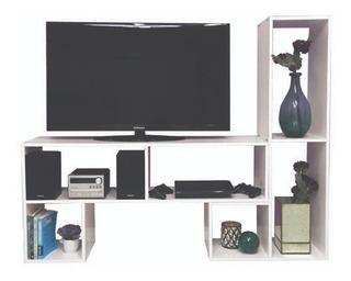 Combo X 2 Modulos L Tv Rack Mesa Modular Blanco Wengue #