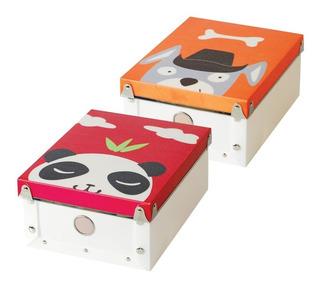 2 Cajas Organizadoras Infantiles Mutliusos Panda Y Perrito