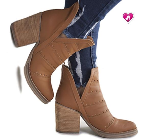 Bota Texana Mujer Cuero Tachas Modelo Praga De Shoes Bayres