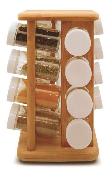 Porta Temperos Giratório Em Bambu Tyft 17 Peças