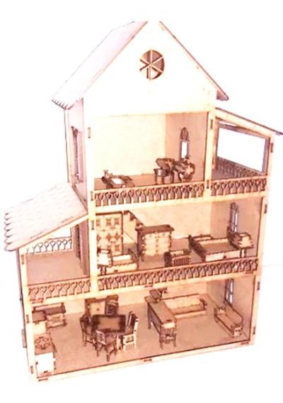 4 Casa Casinha De Boneca+36 Mini Móveis Promoção Mdf Cru