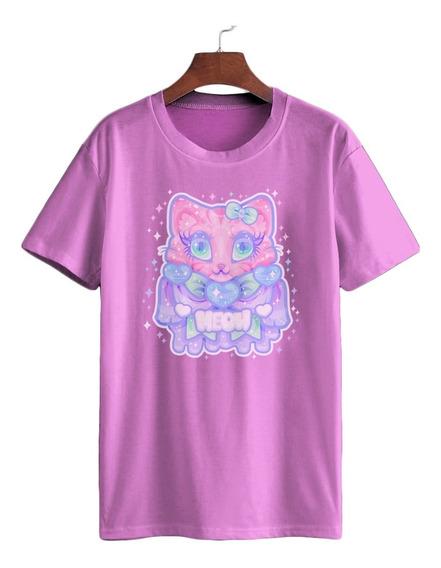Camiseta Algodão Gato Pastel Goth Bruxa Morcego Noite Lua