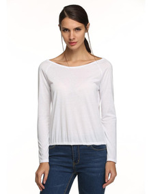 6a5dc2bd90 Damas Elegantes Manga Larga Blusa Sin Espalda Camiseta