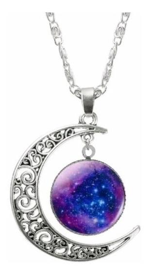 Colar Corrente Feminino Meia Lua Prata E Galáxia Universo 3d
