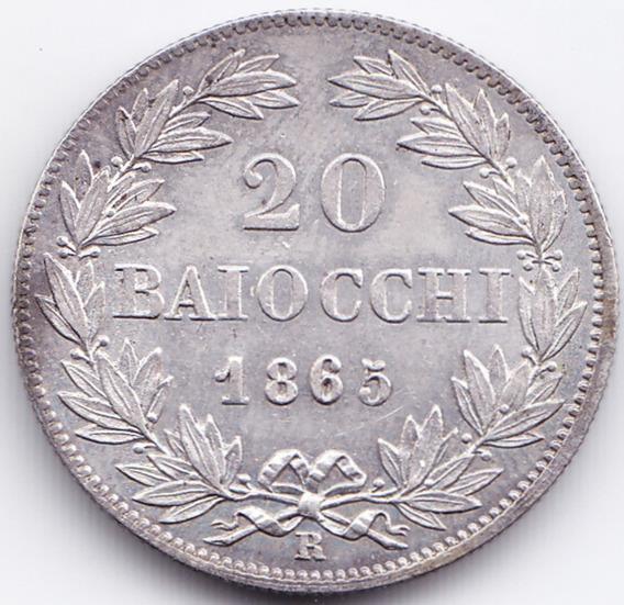 Vaticano Moneda 20 Baiocchi 1863 R Plata Km# 1360 Au