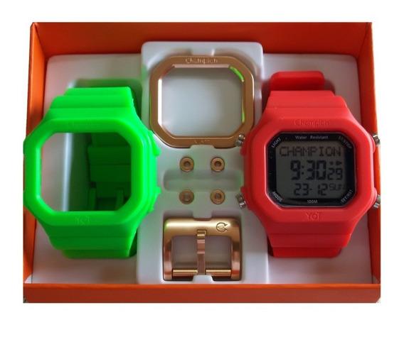 Relógio Champion Yot Original Cp40180x Nf Verde Neon Vermel
