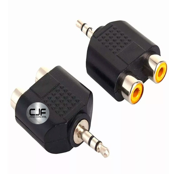 Adaptador 2 Rca Hembra A Mini Plug 3.5 Mm Macho Pc Tv Lcd