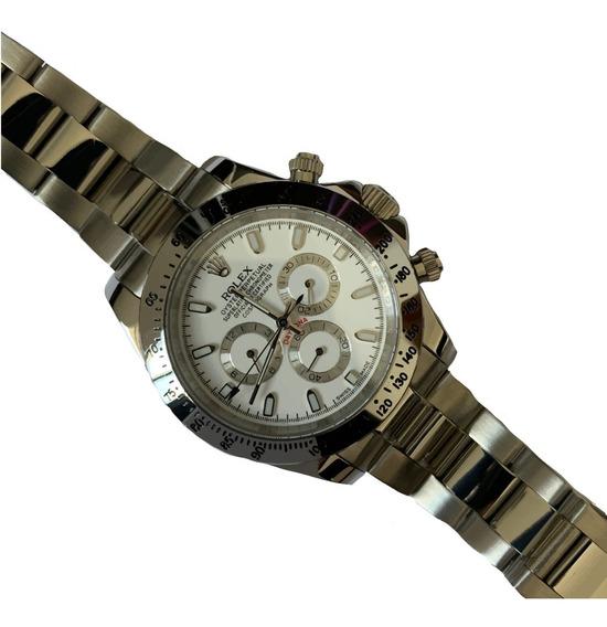 Reloj Rolex Daytona Plateado Cara Blanca Automatico 345r