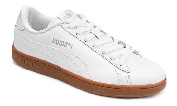 Tênis Couro Puma Smash V2 L Masculino Branco Original