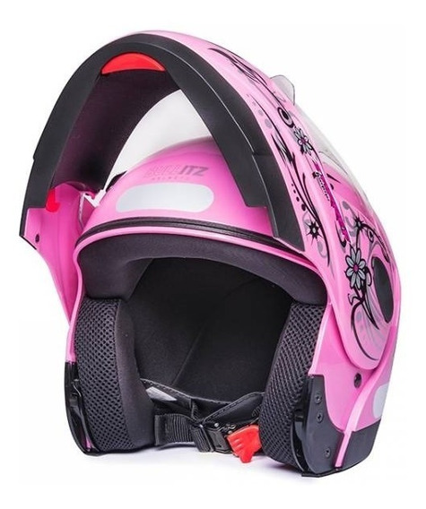 Capacete De Moto Feminino Robocop Zarref Femme Rosa