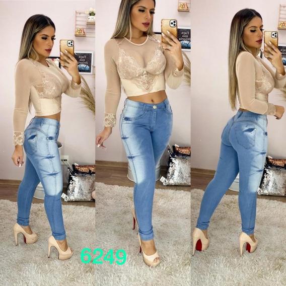 Kit 2 Calças Jeans Feminina Cintura Alta