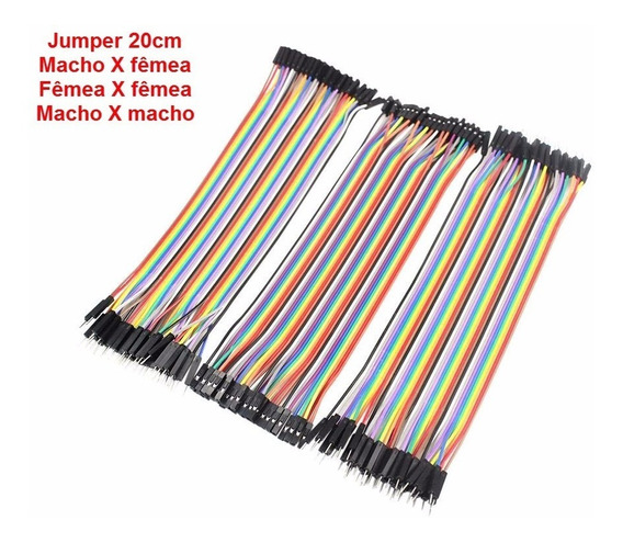 30 Pçs Jumper Macho X Macho X Femea X Femea 20cm Arduino Pi