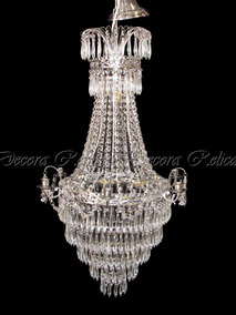 Lustre Design Classico Em Cristal C Pingentes Rico Design
