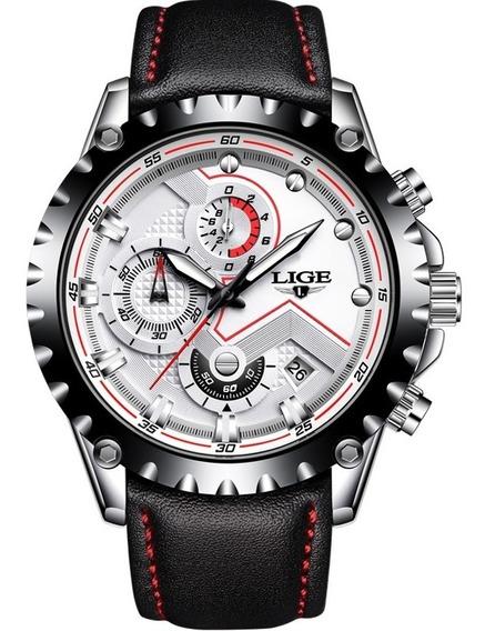 Relógio Lige Masculino Original Lg9821 Branco Todo Funcional