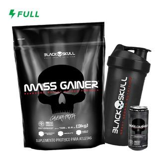 Mass Gainer Refil 3kg + Coqueteleira Black Skull