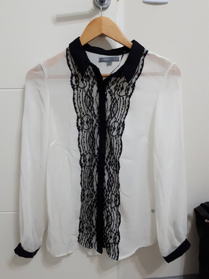 Camisa Gasa Encaje Basement Falabella