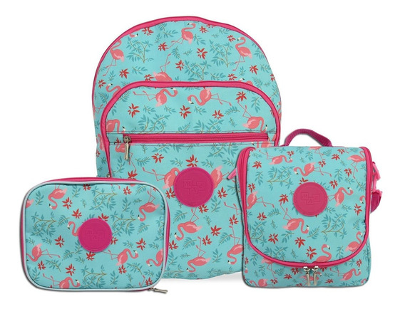 Kit Mochila Escolar Feminina Flamingo Mac