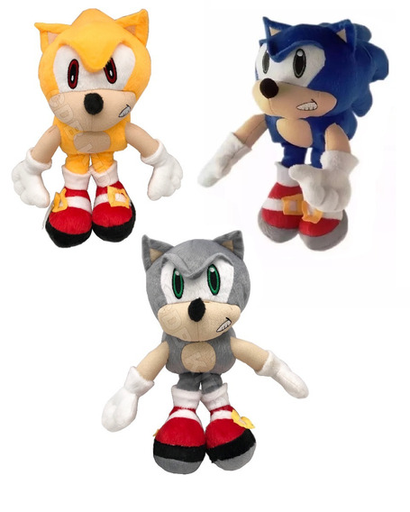 Kit 3 Sonic Hedgehog, Super Sonic E Sonic Silver