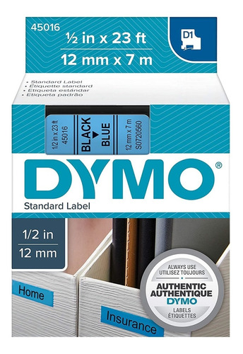 45016 | Labelmanager | Cinta Dymo | Negro/azul | 12mmx7m