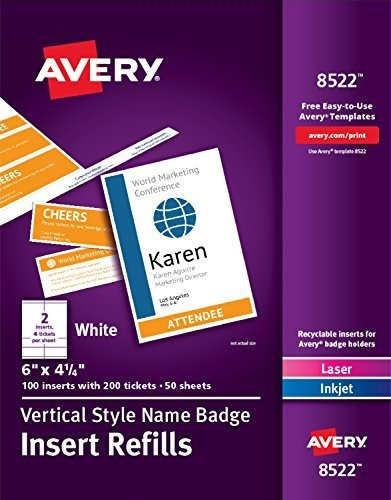 Avery Vertical Name Badge & Ticket Inserts, 6 X 4-1/4 , 1