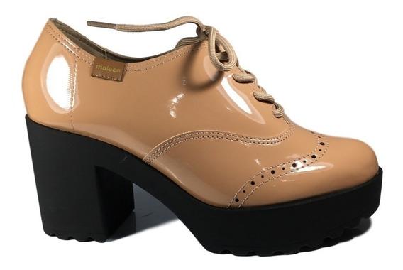 Sapato Oxford Moleca Feminino Bege Verniz Salto Tratorado