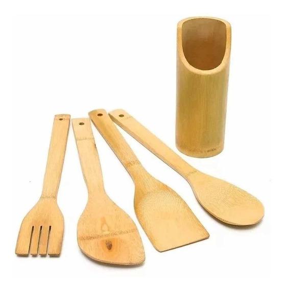 Kit Culinário Colher De Bambu (pau) E Suporte Pronta Entrega