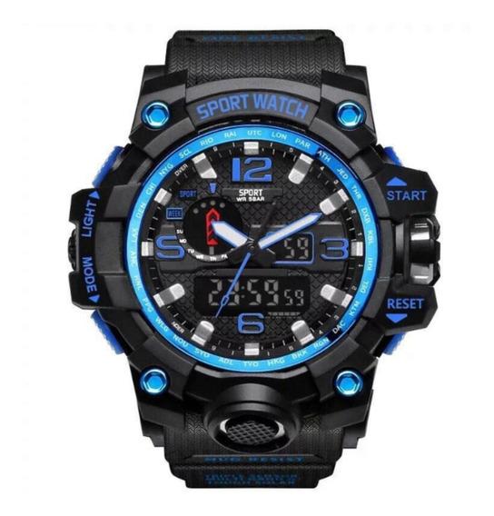 Relógio Lepadi 1036c S-shock Masculino - Azul E Preto