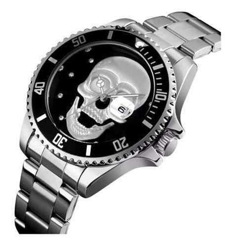 Relógio Caveira Masculino 3d Skull Catraca Giratória Pesado