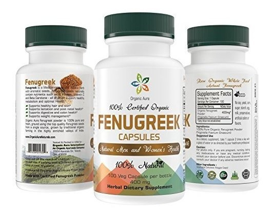 Orgánico Certificado Fenogreco Cápsulas 100 Verduras Fáci