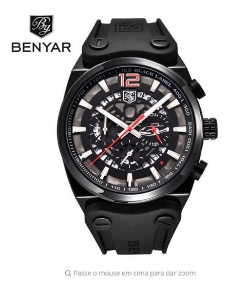 Relógio Masculino Benyar 5112 Borracha Militar Frete Grátis